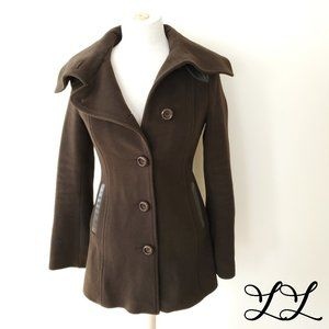 Mackage Coat Jacket Brown Wool Cashmere Leather